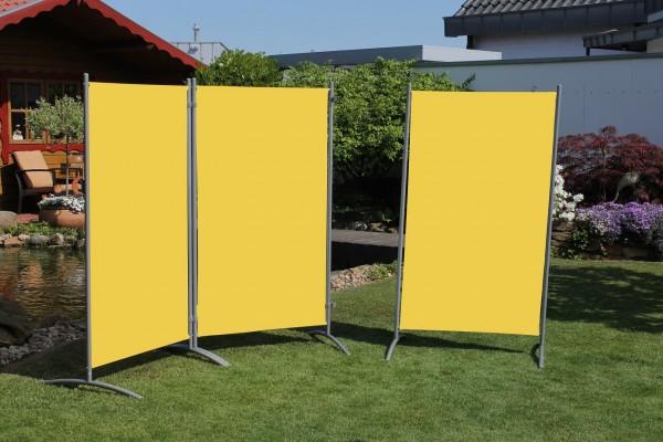 "Stellwand 3-teilig ""Static"" (B/H) ca260x156cm Raumteiler Sichtschutz gelb"