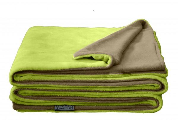 """Wohndecke """"Bella"""" grün Wendeoptik Polyester Microfaser-Nicky Plüsch 150x200cm Tagesdecke"""