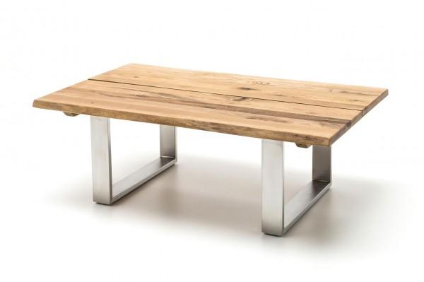 """Couchtisch """"Dallas"""" - Couchtisch Massivholz Asteiche geölt gewachst Metall Edelstahl 120x43x75 50kg"""