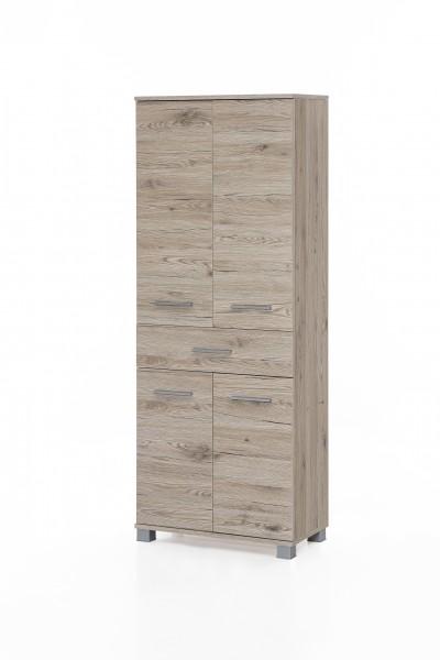 """Badezimmerschrank """"Judy 5"""", 60 x 160 x 32 cm, Eiche Sand, 4 Türen, 1 Schublade"""