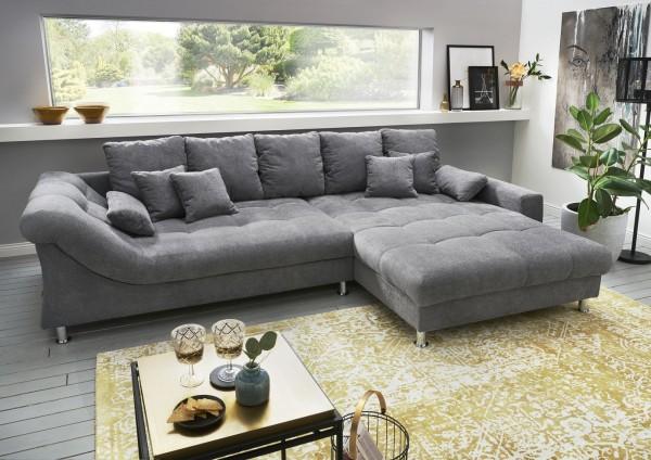 "Ecksofa ""Pierre"" grau 310 x 86 x 193 cm (B/H/T) Wellenunterfederung inkl. Zierkissen Sofa"