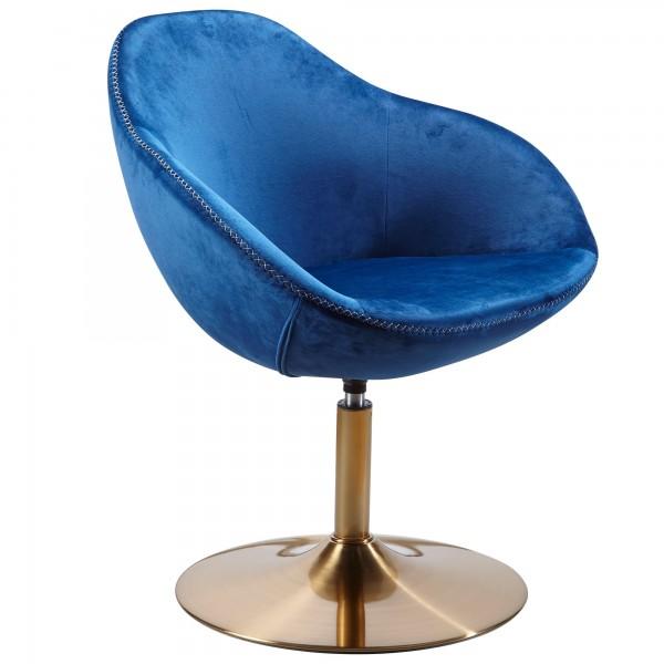 "Loungesessel ""Larina"" blau gold Samt Eisen 70x70x79cm Drehsessel Cocktailsessel"