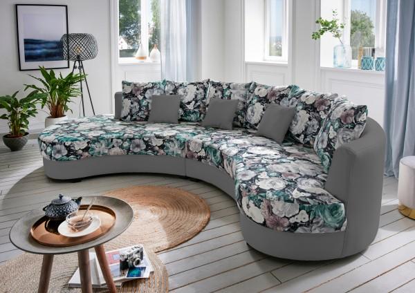 """Nierensofa """"Madeleine"""" Blumenmuster grau 306 x 74 x 183 cm (B/H/T) Sofa mit Zierkissen"""