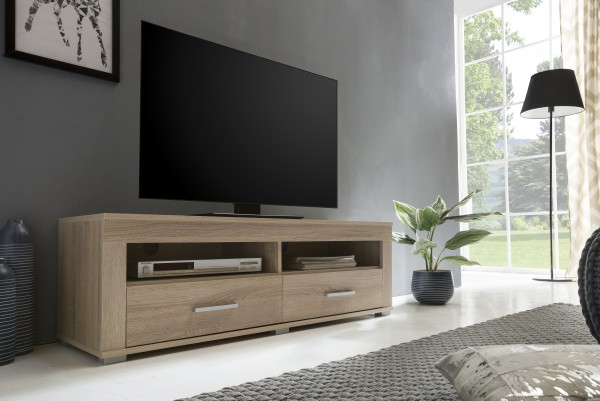 """TV-Lowboard """"Frank 6"""", Eiche sägerau, 120 x 39 x 37 cm, 2 Schubkästen, 2 offene Fächer"""