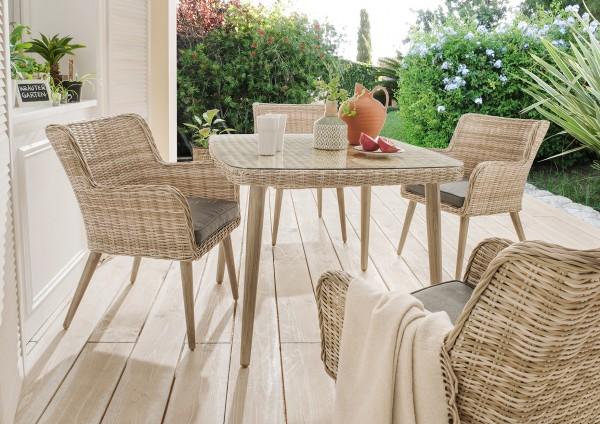 """Gartentisch """"Santos"""" Rattan natur Polyrattan Tisch"""