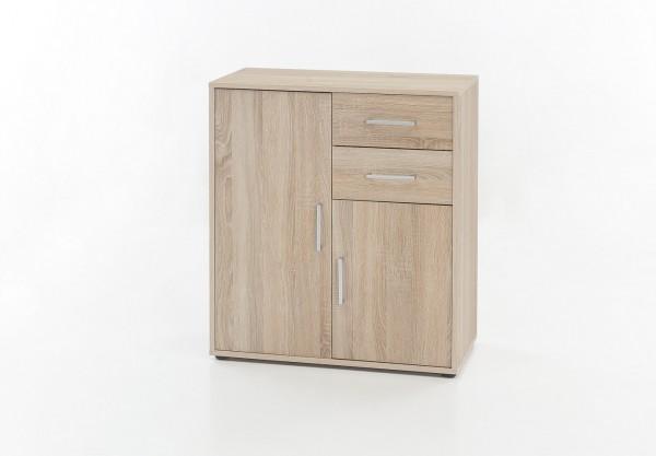 """Kommode """"Kelly"""", Eiche sägerau, 73 x 85 x 37 cm, 2 Türen, 2 Schubladen"""