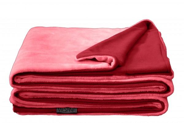 """Wohndecke """"Bella"""" rose Wendeoptik Polyester Microfaser-Nicky Plüsch 150x200cm Tagesdecke"""