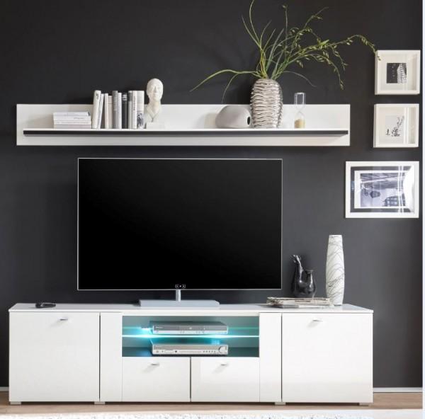 """Wohnwand Kombination """"Dustin Two"""" - in Hochglanz weiß und schwarzen Applikationen mit TV-Lowboard, Vitrinenschrank und Wandboard"""