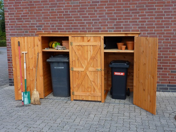 """Mülltonnenschrank """"Greta I"""", honigbraun, Kiefer, 250x101x161cm, Gartenschrank, Geräteschrank, Garten"""