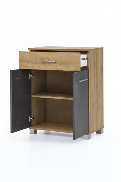 """Anstellschrank """"Judy 3"""", 60 x 80 x 32cm, Alteiche/Graphit, 2 Türen, 1 Schublade, Badezimmer, Schrank"""