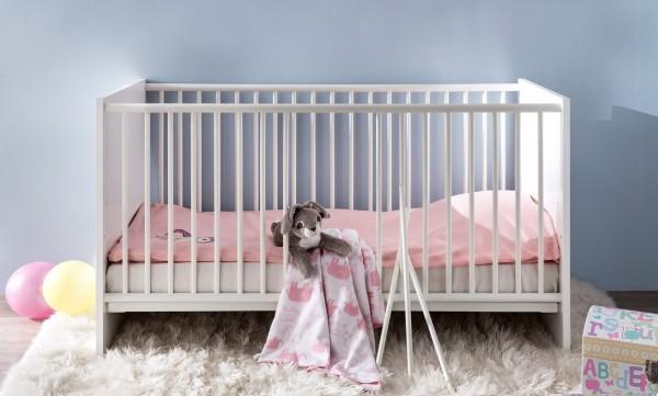 """Kinderbett """"Sandy"""", weiß, Höhenverstellbar, Kinderzimmer, Babybett, 78 x 83 x 143 cm"""