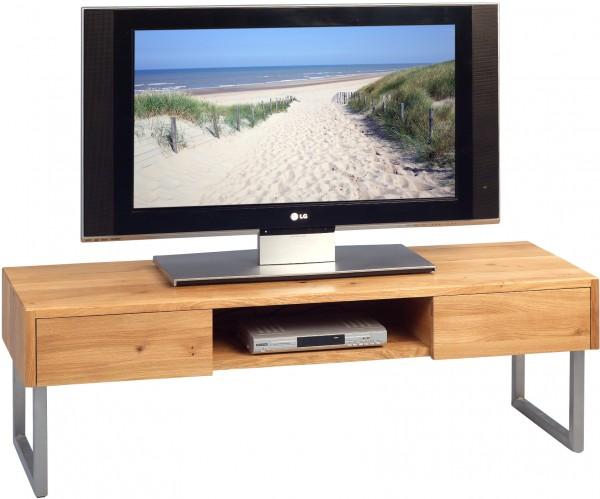 """TV-Bank """"Enno"""", Wildeiche massiv geölt, Schubladen, 120 x 40 x 40 cm"""