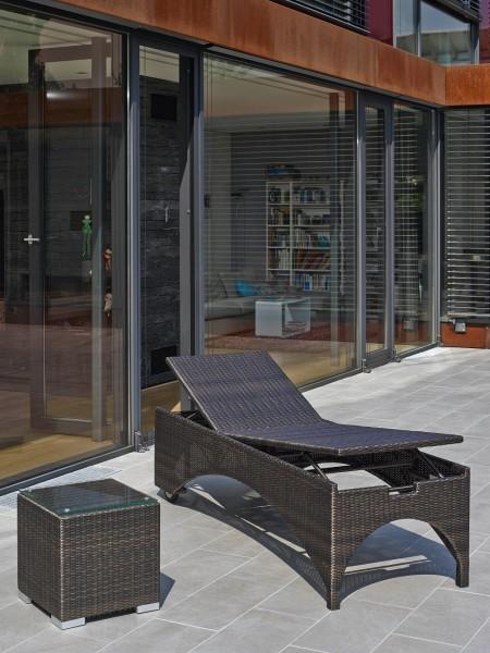 """Rollliege """"Hauke"""", bronze, 200 x 70 x 56 cm, ohne Polster, Gartenliege, Sonnenliege, Garten, Balkon"""
