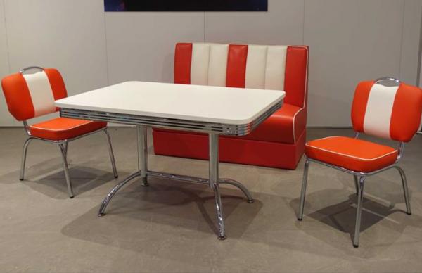 """Tischgruppe Set """"Myst II"""" Diner Set rot/weiss Tisch mit Doppelsäulengestellt 2xStuhl Polsterbank"""