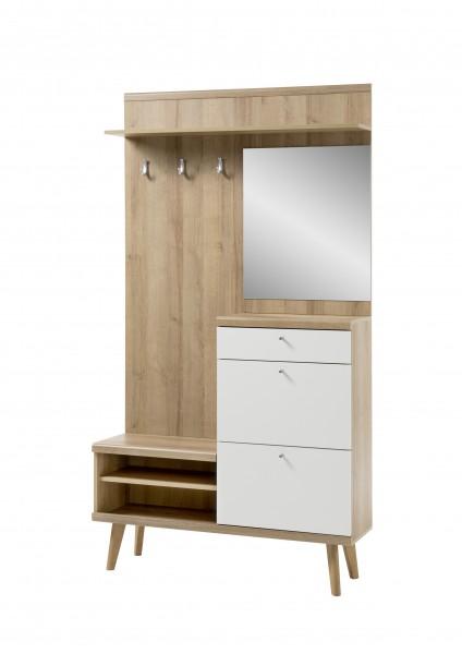 """Garderobe """"Scandic"""", Eiche Riviera NB/weiß matt, 110 x 200 x 34 cm, Flur, Diele, Möbel"""