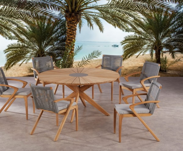 """Gartengruppe """"Lano"""" 13-tlg. Teak/grau Tisch rund 6xSessel inkl. Sitzkissen Sitzgruppe Gartenmöbel"""