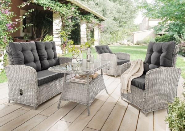 """Sofaset """"Pearl"""", vintage weiß, 4-teilig, inkl. Polster und Tischglasplatte, Loungemöbelset, Garten"""