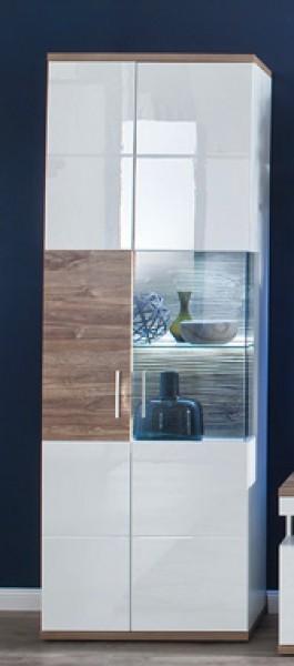 """Vitrine """"Loren"""" Highboard Glaselement, weiß hochglanz/ weiß matt, Absatz Sterling Oak, 70x199x37cm"""