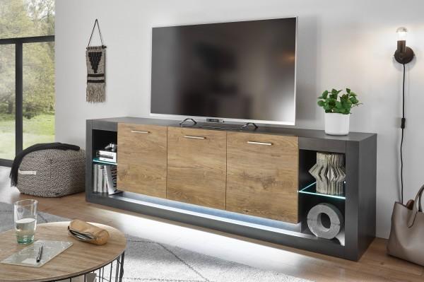 """Lowboard """"Ben I"""" Kastanie Dekor/ Fresco 198x61x43cm viel Stauraum Board Stauraumelement"""