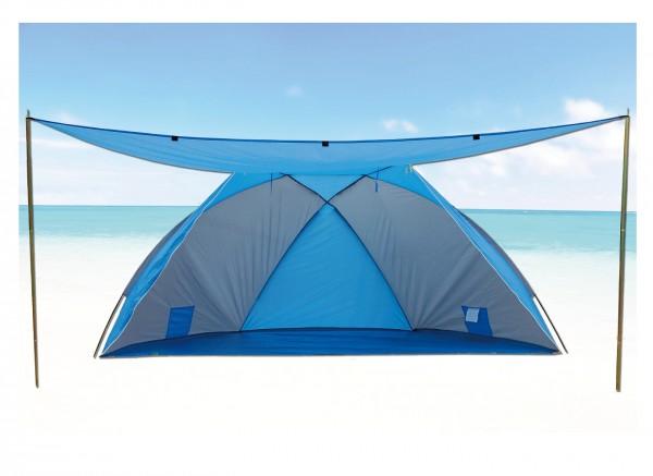 """Strandmuschel """"Sola"""" 270x120x120cm blau faltbar mit Sonnendach Sonnenschutz UV 80+"""