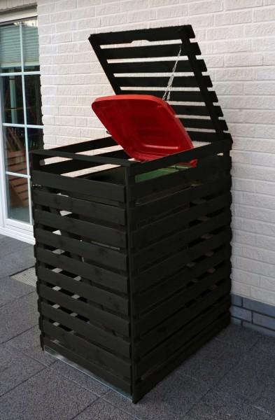 """Mülltonnenbox """"Tim II"""", 77x92x122cm, anthrazit, Kiefer, mit Deckel, für 1 Tonne, Müllbox, Garten"""
