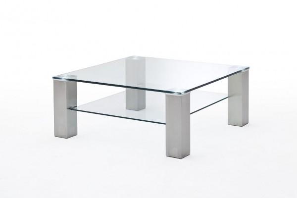 """Couchtisch """"Marbella"""" - Klarglas Glastisch Edelstahl silber 90x40x90 cm"""
