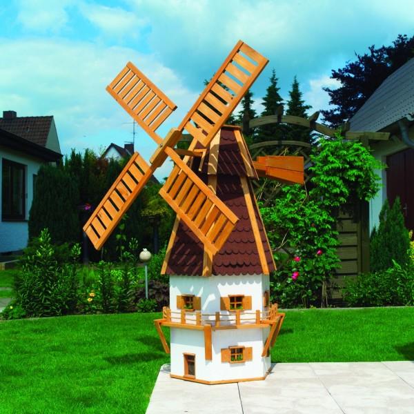 """Windmühle """"Norderney"""" honigbraun weiß Handarbeit 80x80x160cm Gartenwindmühle"""