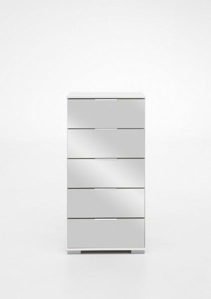"""Schubkastenkommode """"Olha"""" weiß+Spiegel (5xSchubkästen) 49x102x41cm Board"""