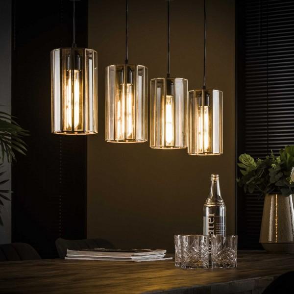 """Hängelampe """"Avellino"""" 4 Lampenschirme bronze Glas 100x13x150cm (B/T/H) Deckenlampe Zijlstra"""