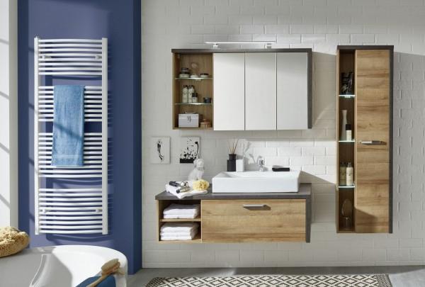 """Bad Kombination I """"Lemvig"""", Badezimmer 3 teilig mit/ohne Beleuchtung Eiche Riviera Honig MDF FSC 70%"""