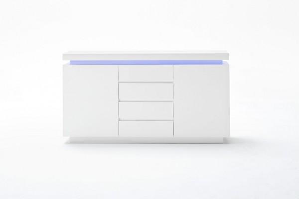"Sideboard ""Cardoo"" Hochglanz weiss, 150x81x40 cm inkl. LED Beleuchtung weiß"