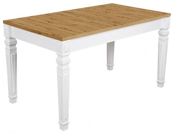 """Esstisch """"Denise"""", weiß/Artisan, 160-200x76x90 cm, Designfüße, Tisch, Küchentisch, Küche, Esszimmer"""