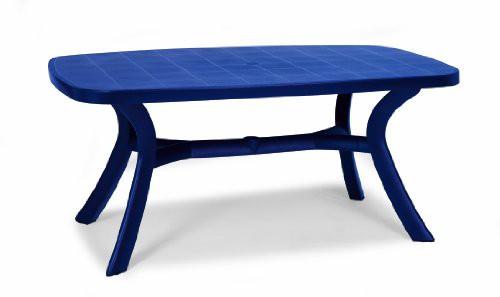 Beauty.Scouts Gartentisch Tisch Esstisch Marina mit abdeckbaren Schirmloch blau 192 x 105 cm