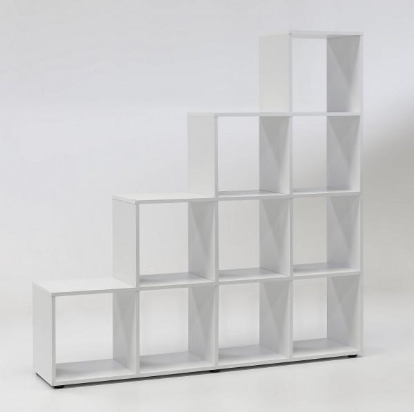 """Regal / Treppenregal """"Jan"""", weißes Dekor, 10 Fächer, 138,5 x 142,5 x 29 cm"""