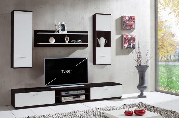 """Wohnwand """"Olivia"""" 4-teilig schwarz weiß 187,9x190x37cm (B/H/T) Mediawand"""