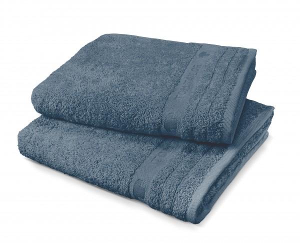 """Tom Tailor Handtuch 2er-Set Uni Basic Towels """"Jeans Star"""", jeansblau, 50 x 100 cm"""