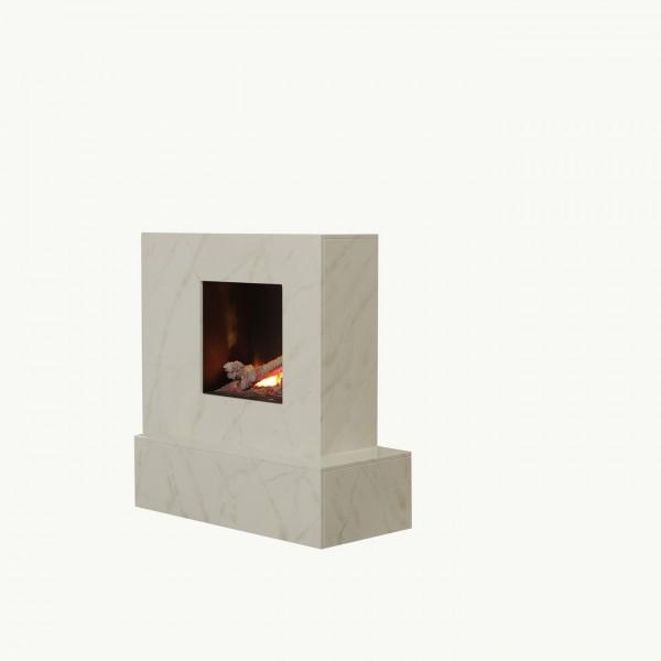 """Elektrokamin """"Lorina IV"""" weiß beige grau marmoriert 106x95x42cm Optimyst®"""