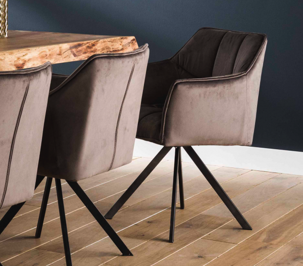 """Drehsessel """"Bly"""" 2x Stuhl gepolstert Stahlgestell trendig mit Arm- & Rückenlehne anthrazit velvet"""
