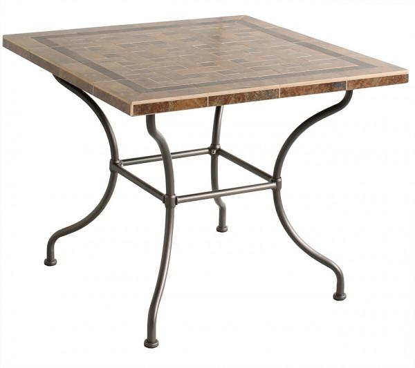 """Dinning Tisch """"Antibes"""" Gartentisch eckig Stahlgestell anthra 90x75x90cm Stahltisch, Keramik Mosaik"""