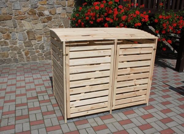 "Doppelmülltonnenbox ""Sabrina"" natur Kiefernmassivholz 148x92x122cm Mülltonnenaufbewahrung"