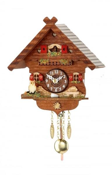 """Kuckucksuhr """"Biberach"""" Holz mit Kuckucksruf, Nachtabschaltung, Quartzuhrwerk, Schwarzwalduhr, Uhr, Wanduhr, Pendeluhr, Diele/Flur, 16x15x8 cm"""