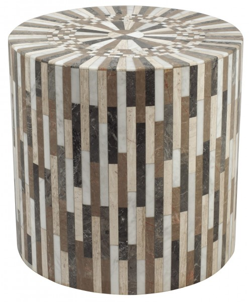 "Badezimmerhocker Gartenhocker ""Wood"" Marmor Country Hocker naturfarben Marmormosaik"