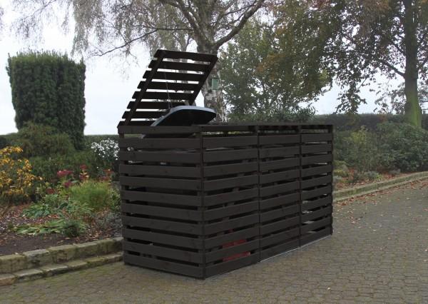 """Erweiterung Mülltonnenbox """"Tim"""", 70x92x122cm, anthrazit, Kiefer, mit Deckel, für je 1 Tonne, Garten"""
