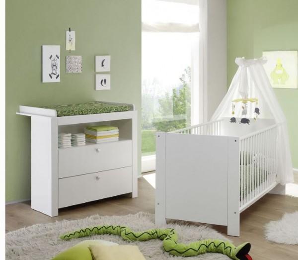 "Babyzimmerkombination II ""Schatzi"", Babyzimmer Weiss 3-teilig Bett Wickelkommode Wickelplatte"