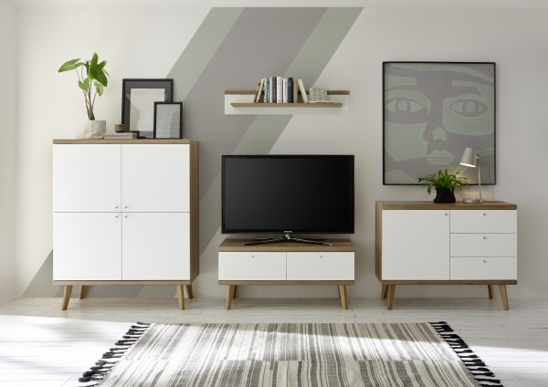 """Wohnwand """"Scandic I"""", Eiche Riviera NB/weiß matt, 4er-Set, 341 (321) x 160 x 19 - 40 cm, Wohnzimmer"""