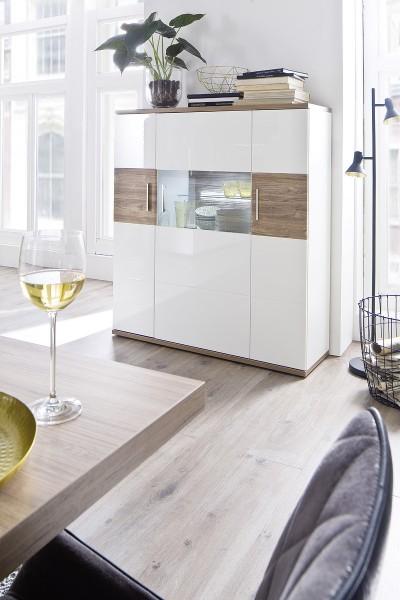 "Highboard ""Loren"" Board Glaselement, weiß hochglanz/ weiß matt, Absatz Sterling Oak, 120x135x37cm, V"