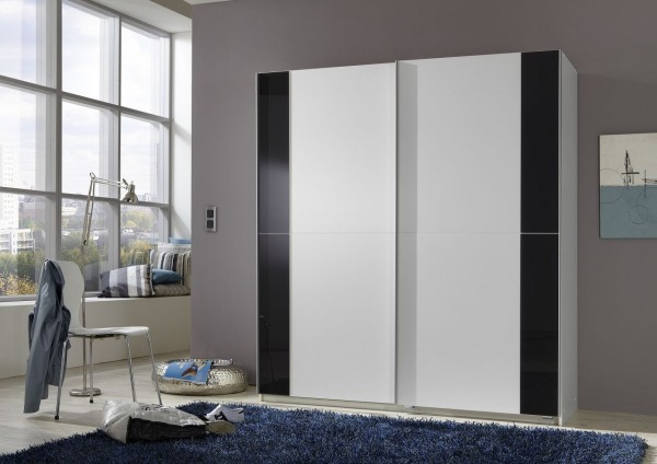 "Schwebetürenschrank ""Proud"" Alpinweiß, Glas in Grey, 135x198x64 cm"