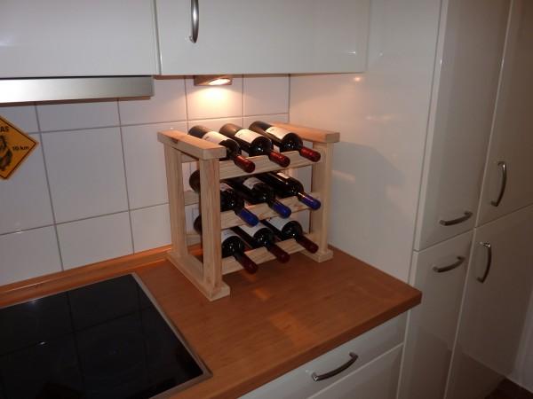"""Küchenweinregal """"Tamara"""", Kiefer, natur, 43,6 x 30 x 40 cm, Weinregal, Weinlagerung, Küche"""