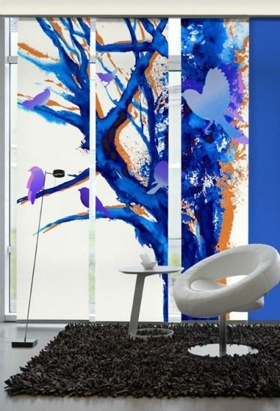 Flächenvorhang Schiebevorhang 3er Set Baum der Vögel Lila oder Blau inkl. Montagesatz