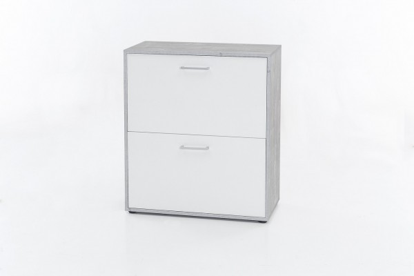 "Kommode ""Bonny"", Beton/weiß, 73 x 85 x 37 cm, 2 Klappen, Schuhkommode"